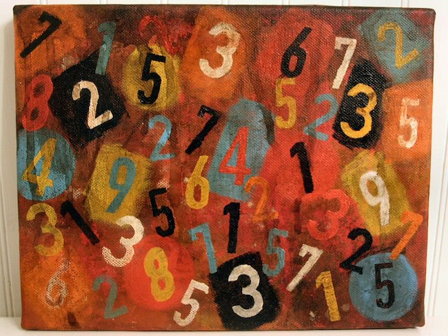 canvas painting of scattered numbers