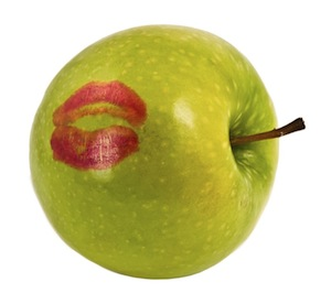image of apple with lipstick